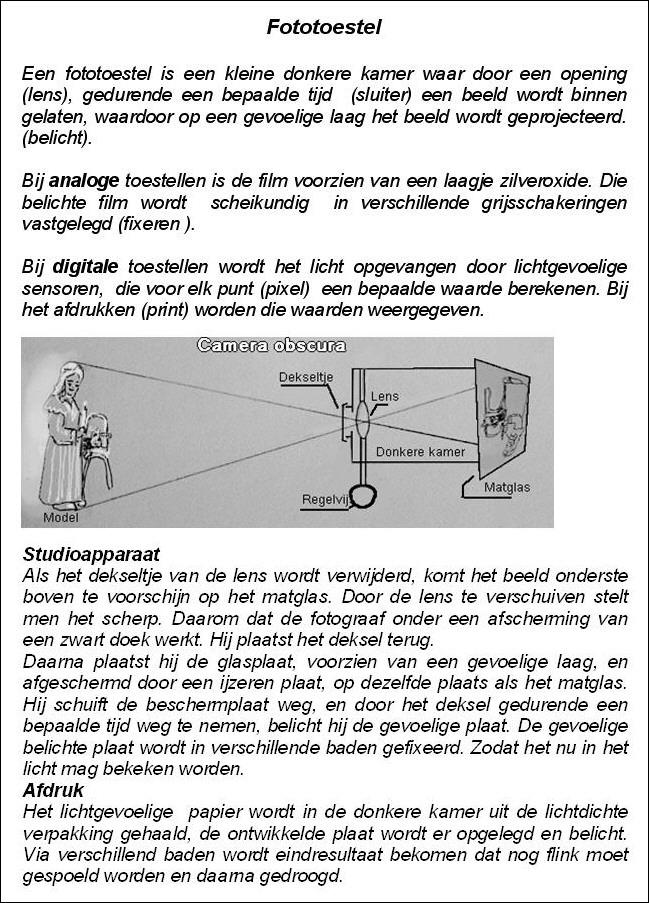 Uitleg over het fototoestel