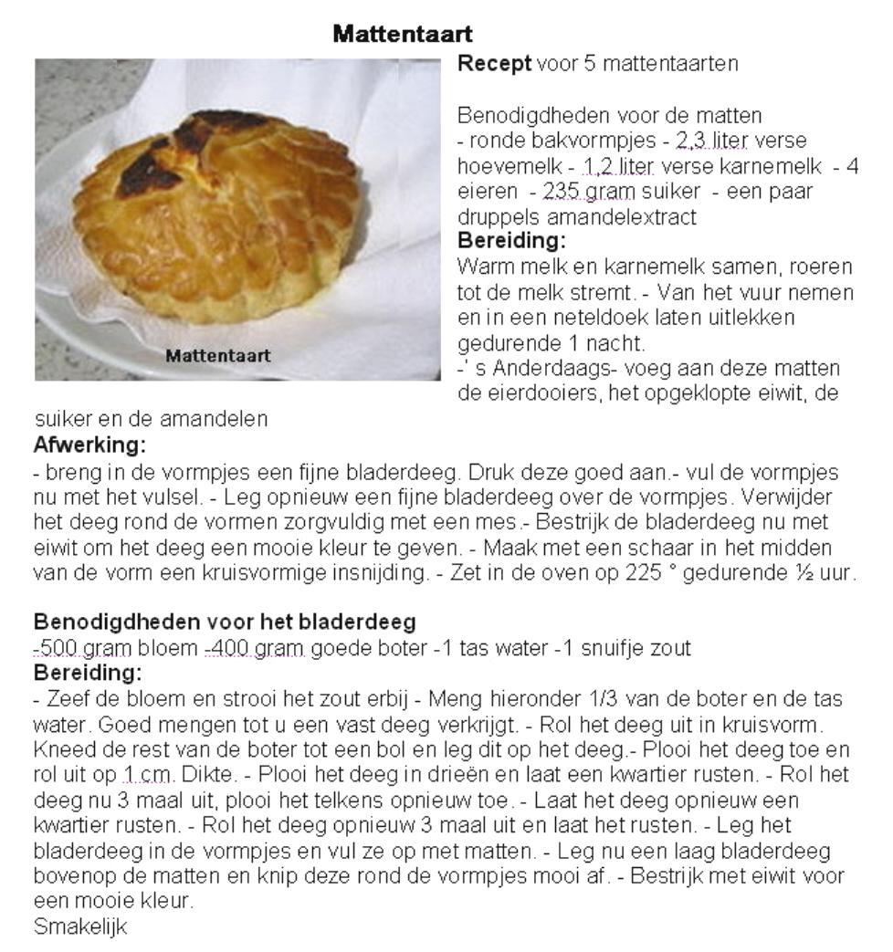 Mattentaart recept